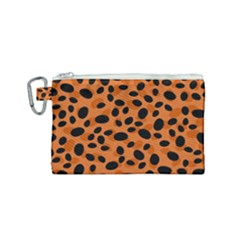Orange Cheetah Animal Print Canvas Cosmetic Bag (small) by mccallacoulture