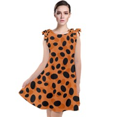 Orange Cheetah Animal Print Tie Up Tunic Dress by mccallacoulture