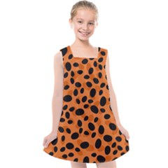 Orange Cheetah Animal Print Kids  Cross Back Dress by mccallacoulture