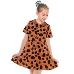 Orange Cheetah Animal Print Kids  Short Sleeve Shirt Dress by mccallacoulture