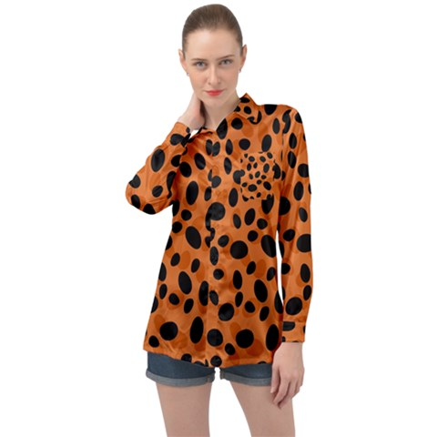 Orange Cheetah Animal Print Long Sleeve Satin Shirt by mccallacoulture