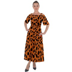 Orange Cheetah Animal Print Shoulder Straps Boho Maxi Dress
