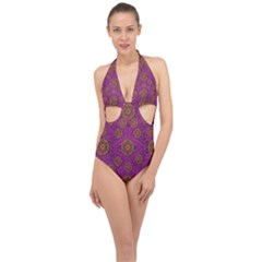 Snow Stars  In Gold On Color Halter Front Plunge Swimsuit by pepitasart