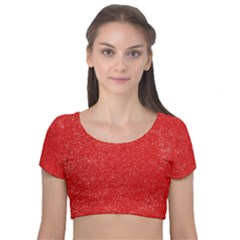 Modern Red And White Confetti Pattern Velvet Short Sleeve Crop Top
