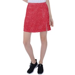 Modern Red And White Confetti Pattern Tennis Skirt