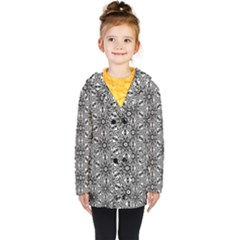 Black And White Pattern Kids  Double Breasted Button Coat