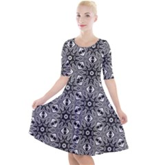 Black And White Pattern Quarter Sleeve A Line Dress