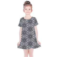 Black And White Pattern Kids  Simple Cotton Dress