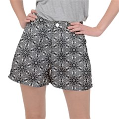 Black And White Pattern Ripstop Shorts