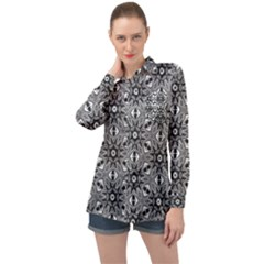 Black And White Pattern Long Sleeve Satin Shirt