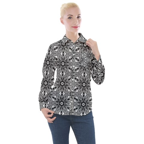 Black And White Pattern Women s Long Sleeve Pocket Shirt by HermanTelo
