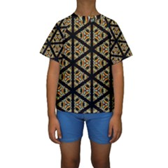 Pattern Stained Glass Triangles Kids  Short Sleeve Swimwear