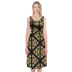 Pattern Stained Glass Triangles Midi Sleeveless Dress