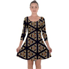 Pattern Stained Glass Triangles Quarter Sleeve Skater Dress