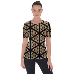Pattern Stained Glass Triangles Shoulder Cut Out Short Sleeve Top
