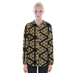 Pattern Stained Glass Triangles Womens Long Sleeve Shirt