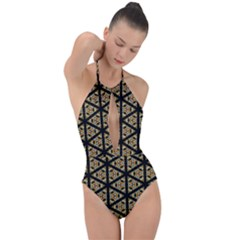 Pattern Stained Glass Triangles Plunge Cut Halter Swimsuit