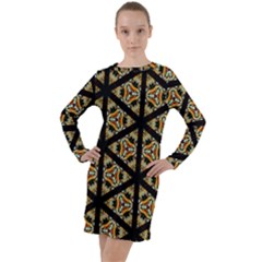Pattern Stained Glass Triangles Long Sleeve Hoodie Dress