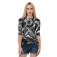 Wave Abstract Lines Quarter Sleeve Raglan Tee