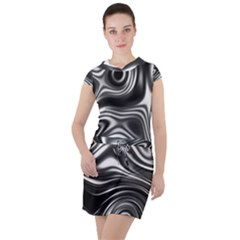 Wave Abstract Lines Drawstring Hooded Dress