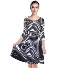 Wave Abstract Lines Quarter Sleeve Waist Band Dress