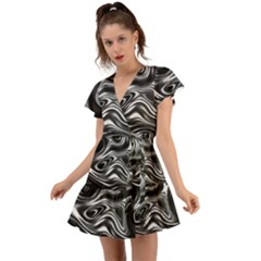 Wave Abstract Lines Flutter Sleeve Wrap Dress