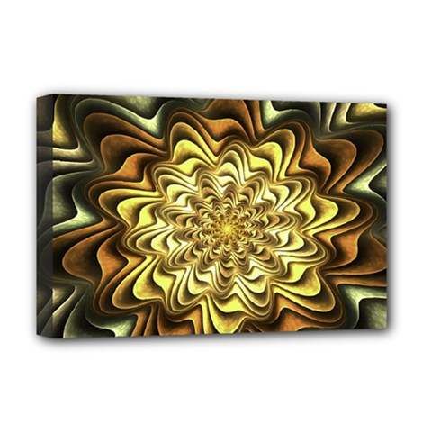 Fractal Flower Petals Gold Deluxe Canvas 18  X 12  (stretched) by HermanTelo