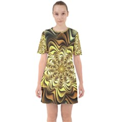 Fractal Flower Petals Gold Sixties Short Sleeve Mini Dress