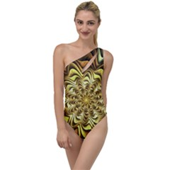 Fractal Flower Petals Gold To One Side Swimsuit