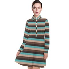 Stripey 1 Long Sleeve Chiffon Shirt Dress by anthromahe