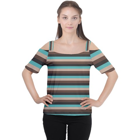 Stripey 1 Cutout Shoulder Tee by anthromahe