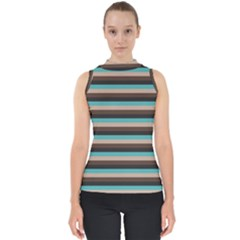 Stripey 1 Mock Neck Shell Top by anthromahe