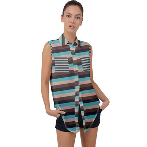 Stripey 1 Sleeveless Chiffon Button Shirt by anthromahe