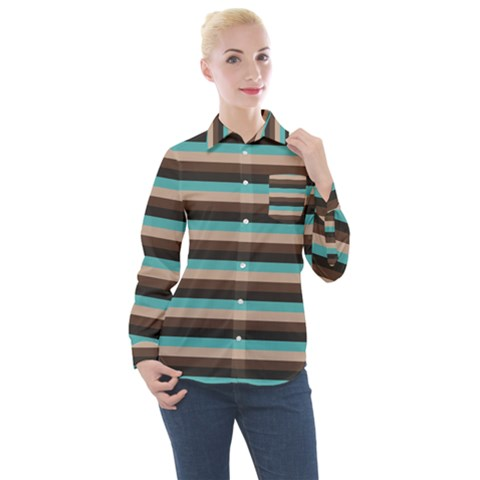 Stripey 1 Women s Long Sleeve Pocket Shirt by anthromahe