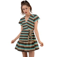 Stripey 1 Flutter Sleeve Wrap Dress by anthromahe