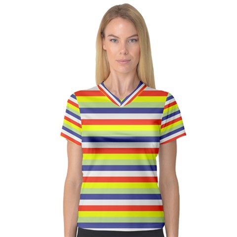 Stripey 2 V-neck Sport Mesh Tee by anthromahe