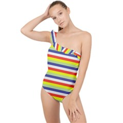 Stripey 2 Frilly One Shoulder Swimsuit by anthromahe