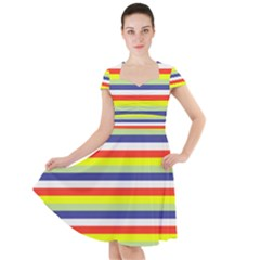 Stripey 2 Cap Sleeve Midi Dress by anthromahe