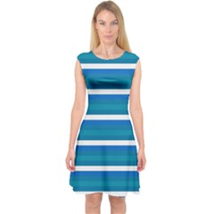 Stripey 3 Capsleeve Midi Dress by anthromahe