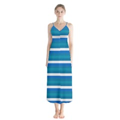 Stripey 3 Button Up Chiffon Maxi Dress by anthromahe