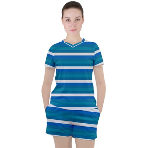 Stripey 3 Women s Tee And Shorts Set by anthromahe