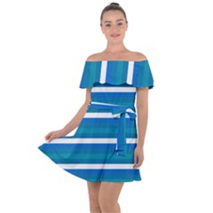 Stripey 3 Off Shoulder Velour Dress by anthromahe