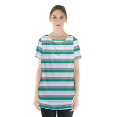 Stripey 4 Skirt Hem Sports Top by anthromahe