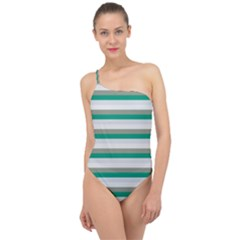 Stripey 4 Classic One Shoulder Swimsuit by anthromahe