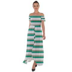 Stripey 4 Off Shoulder Open Front Chiffon Dress by anthromahe
