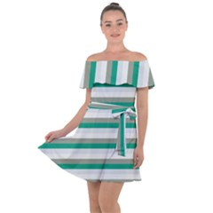 Stripey 4 Off Shoulder Velour Dress by anthromahe