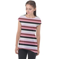 Stripey 5 Cap Sleeve High Low Top by anthromahe