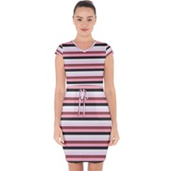 Stripey 5 Capsleeve Drawstring Dress  by anthromahe