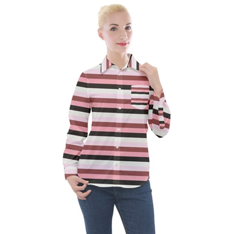 Stripey 5 Women s Long Sleeve Pocket Shirt by anthromahe