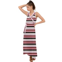 Stripey 5 V-neck Chiffon Maxi Dress by anthromahe